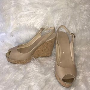 Jimmy Choo taupe patent wedges size 39
